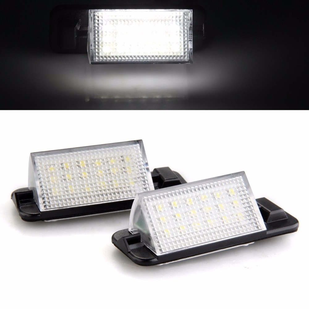 2X Waterproof 18SMD White Color Auto License Plate Light 7000K 3528 SMD Car Error Free Plate Lamp For BMW E36 1992-1998