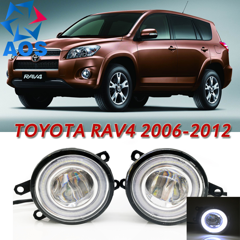 For Toyota RAV4 2006-2012 Car Styling LED Angel eyes DRL LED Fog lights Car Daytime Running Lights auto fog lamp with bulbs set h8 h11 female adapter wiring harness socket car auto wire connector cable plug for hid led headlight fog light lamp bulb