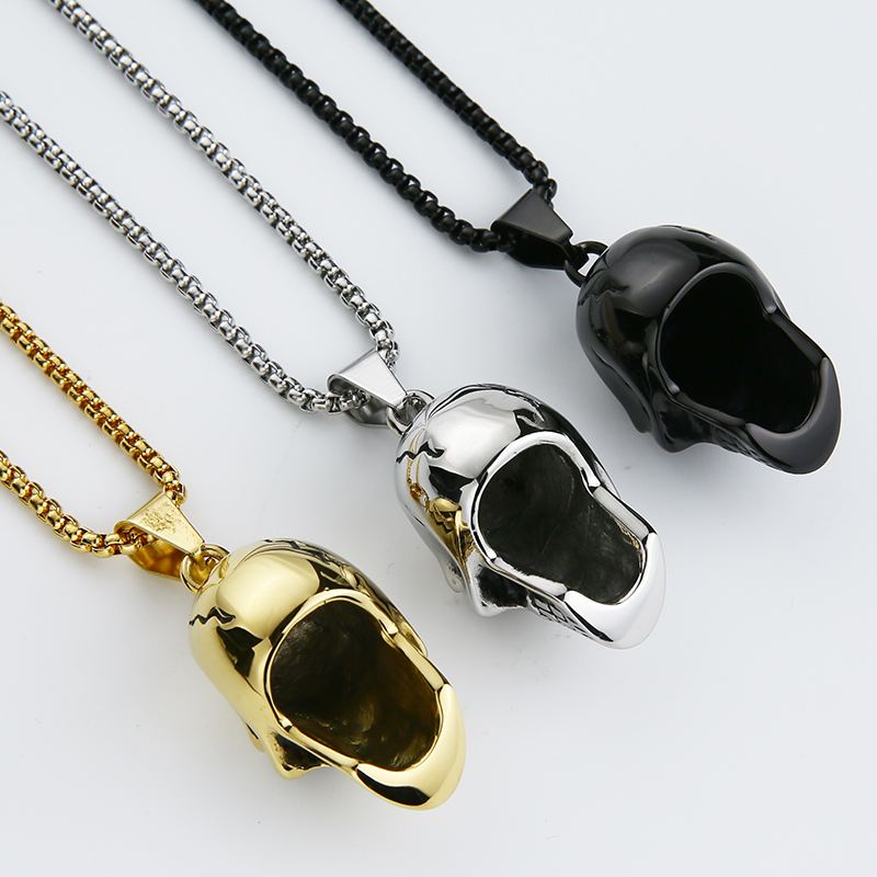 EdgLifU New Skull Pendentif Collier Biker Moto Enthusiast Noir Punk - Bijoux fantaisie - Photo 6