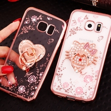 Luxury Ring Case For Samsung Galaxy S9 Plus Note 8 5 S8 S9 Coque Stand Holder Diamond Silicone Cover For Samsung S8 S7 Edge Capa