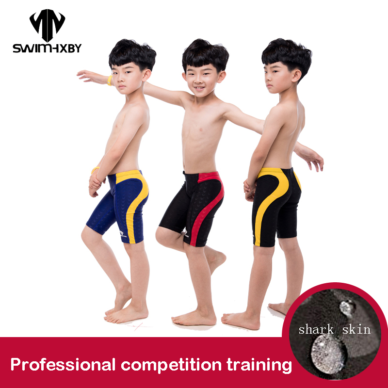 HXBY Men's Swimming Trunks For Boy Swimwear Competition Training Children's Swimsuit Boys Professional Baby Swimming Shorts 5XL