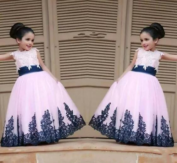 Custom Made 2017 Royal Blue Lace Little Flower Girls' Dresses Bridal Party Princess Style Ball Gowns For Weddings custom make little girls party dresses one shoulder lace hand made flowers tiered organza tiered ball gown little girls dress