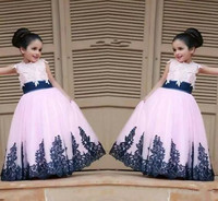 New Royal Blue Lace Little Flower Girls' Dresses Bridal Party Princess Style Ball Gowns For Weddings