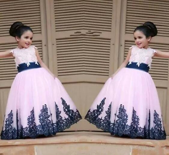 Nouvelles robes de filles en dentelle bleu Royal petite fleur robes de bal de Style princesse pour les mariagesNouvelles robes de filles en dentelle bleu Royal petite fleur robes de bal de Style princesse pour les mariages