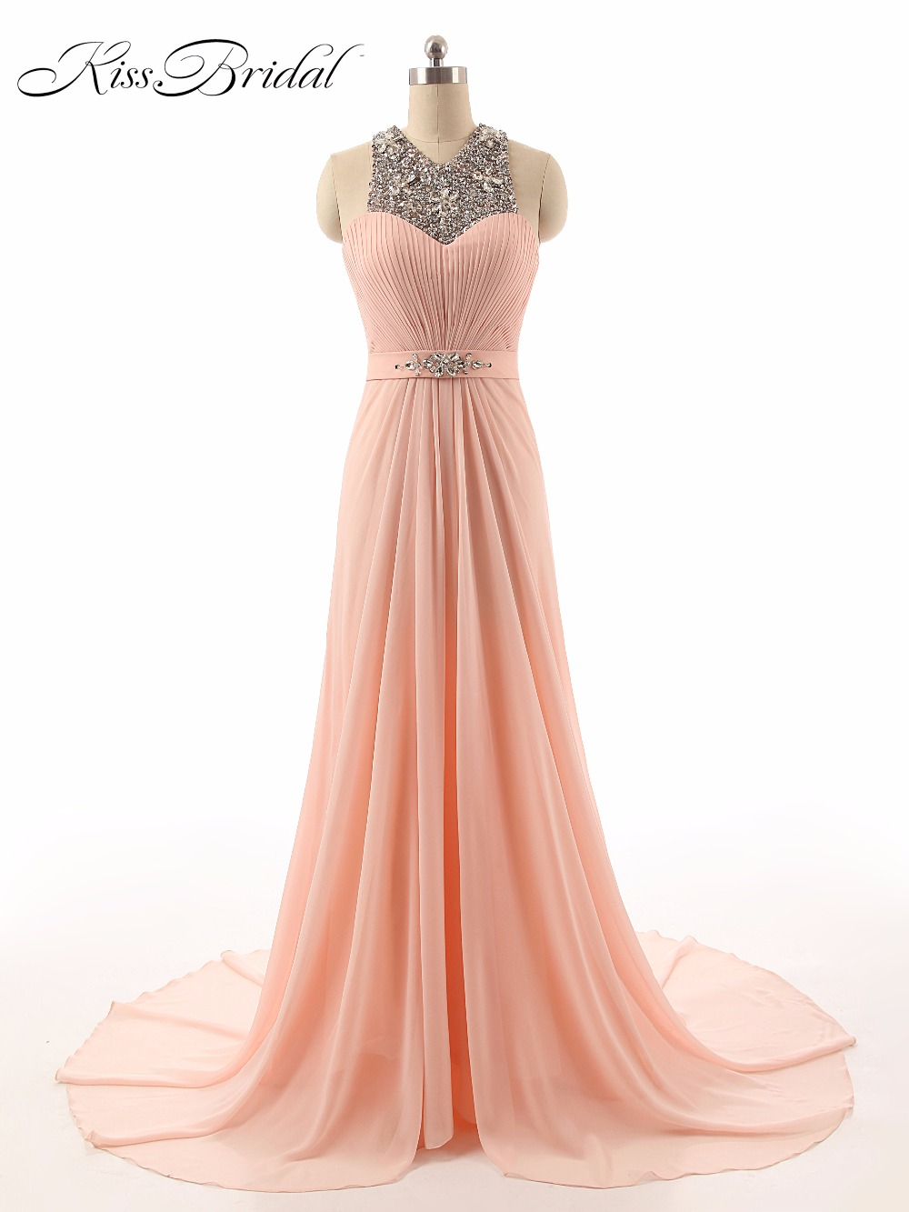 Elegant   Evening     Dresses   Long V-Neck Beaded Sleeveless Sweep Train Zipper Back Women Formal Prom Party   Dresses   With Sash
