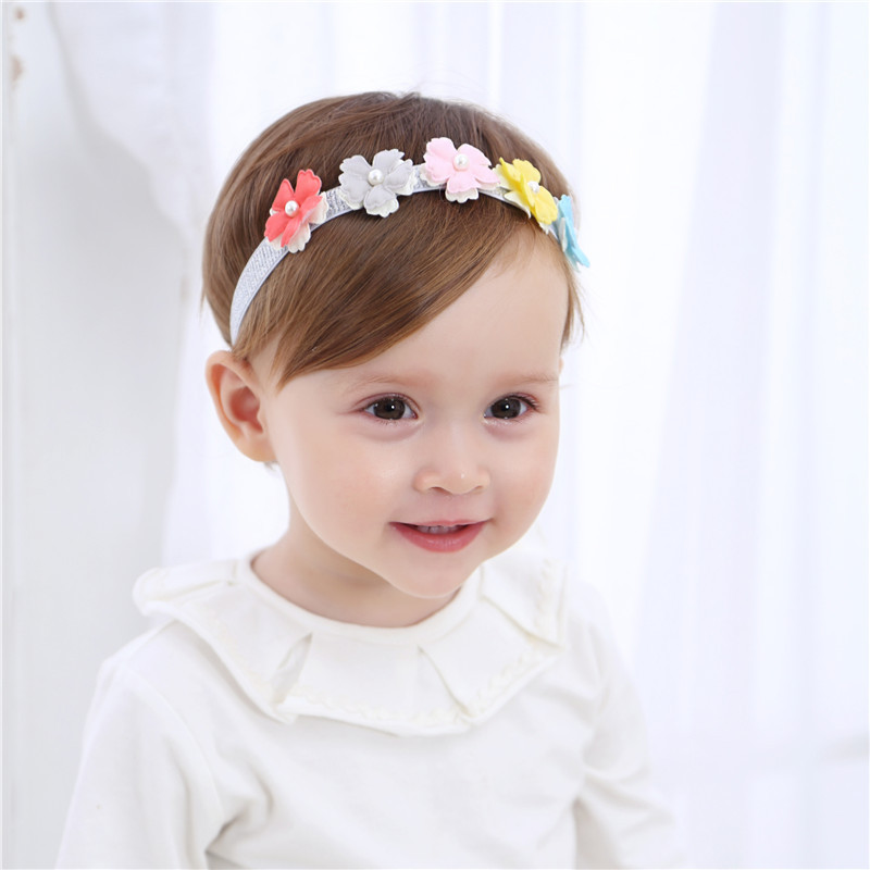 New Baby Colorful Fabric Flower Pearl Headbands Lovely Kids Girls Floral Hair Accessories Children Birthday Party Head Wrap metting joura vintage bohemian green mixed color flower satin cross ethnic fabric elastic turban headband hair accessories