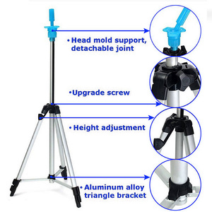Image 3 - Adjustable Height Aluminium alloy  Wig Head Tripod Hairdressing Salon Mannequin Training head Holder 58CM 109CM