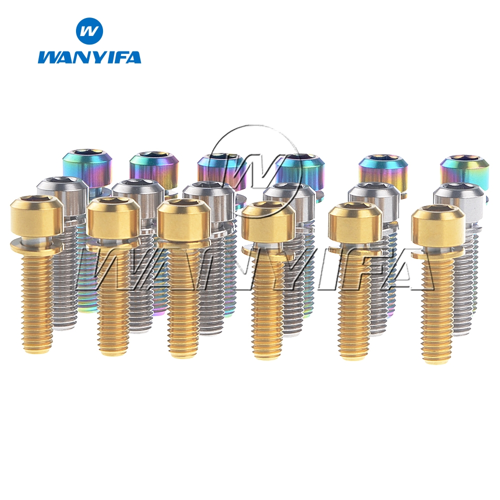 Wanyifa M5x16mm M5x18mm <font><b>M5X20mm</b></font> Titanium Ti Bicycle Stem Screws Bolts with Washer 6Pcs Bicycle Accessory image