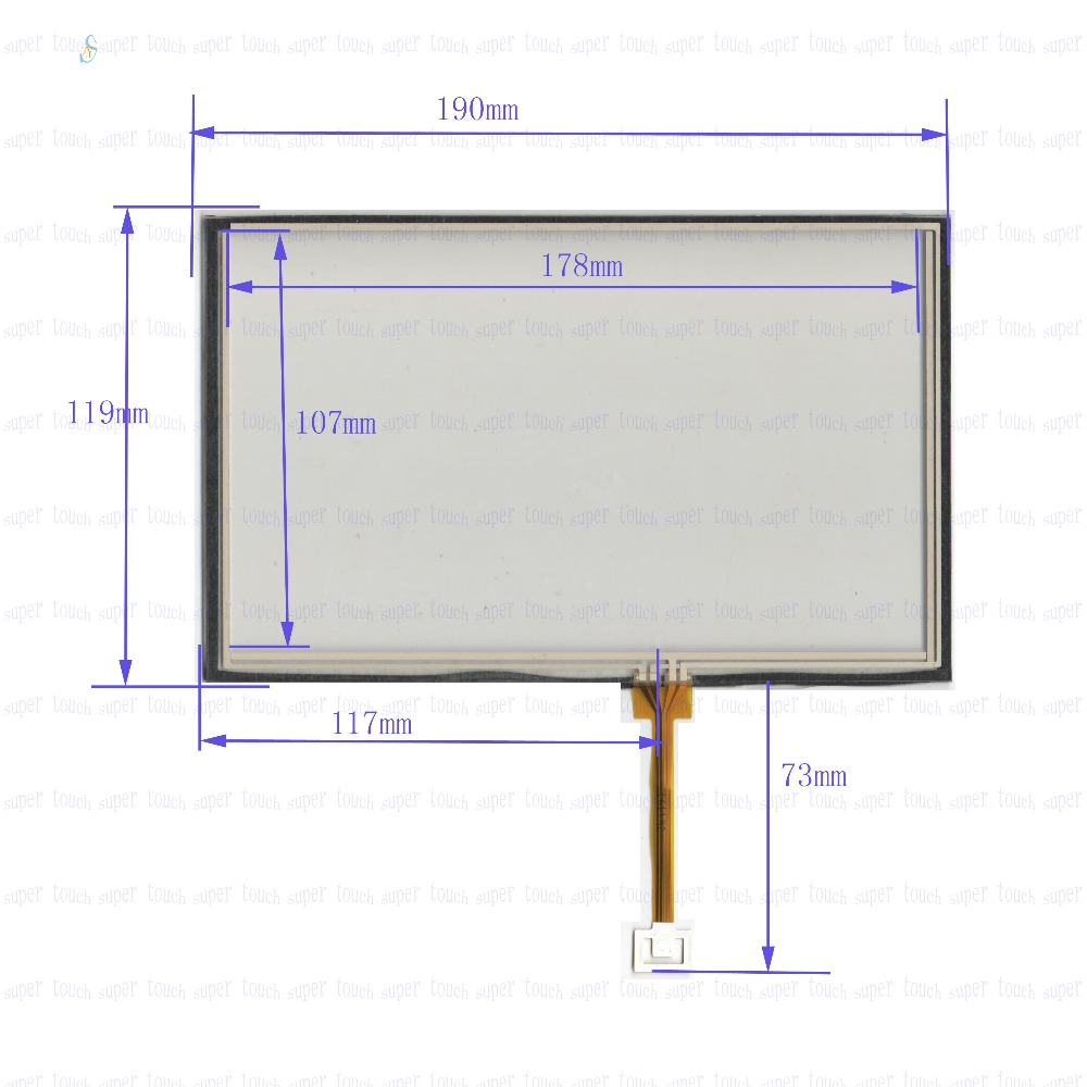 ZhiYuSun POST  8inch 4-wire resistive touch panel for Car DVD, 190*119GPS 190mm*119mm this is compatible new usp 4484038 0p 29 8 4 inch touch screen post 8 4 inch resistive touch panel for industry applications