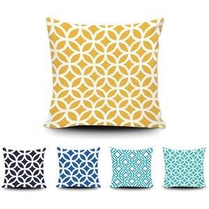 Арт Abtract Геометрическая Подушка Модный дизайн синий желтый Наволочка на диван-кровать для дома на заказ хлопок наволочка 20x20 дюймов