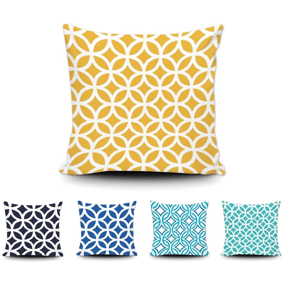 Art Abtract Geometric Throw Pillow Fashion Design Blue Yellow Cushion Cover Home Sofa Bed Custom Cotton Pillow Case 20x20 Inch