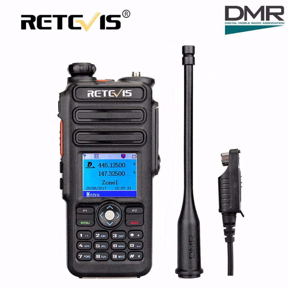 Dual Band DMR Retevis RT82 GPS Digital Radio Walkie Talkie 5 W VHF UHF DMR IP67 Tahan Air Ham Amatir Radio Hf Transceiver + kabel