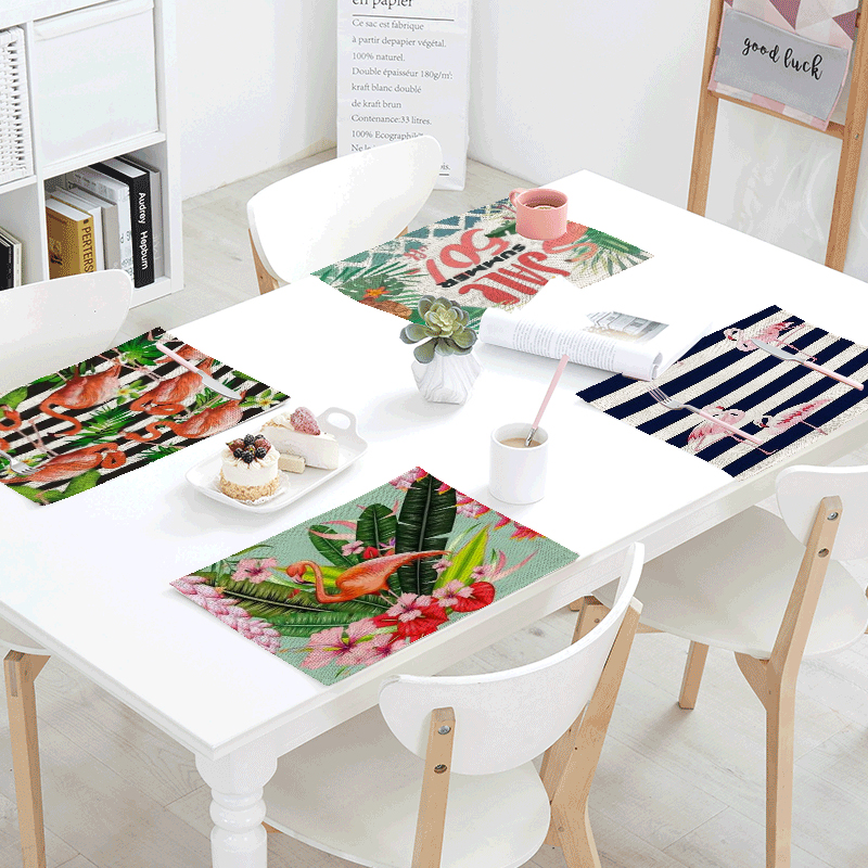 Wholesale Pink Flamingo Pattern Napkin Plant Color Stripe Flower Print Home Dining Table Western Restaurant Decorate Tablecloth