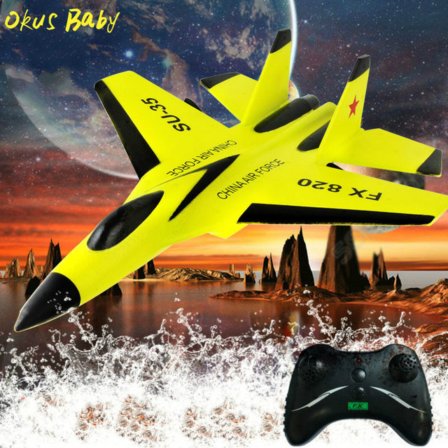 RC Plane Toy EPP Craft Foam Electric Outdoor RTF Radio Remote Control SU-35 Tail Pusher Quadcopter Glider Airplane Model for Kid 4