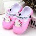 Olá Kitty Crianças Sandálias Para Meninas Sapatos de Verão Crianças Meninos Sandálias Mulas Entope Chinelos Chaussure Respirável Ao Ar Livre de Borracha
