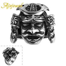 Ajojewel Size 8-10 Mysterious Face Mask Ring Stainless Steel For Men Luxury Vintage Mens Rings Cool Jewelry
