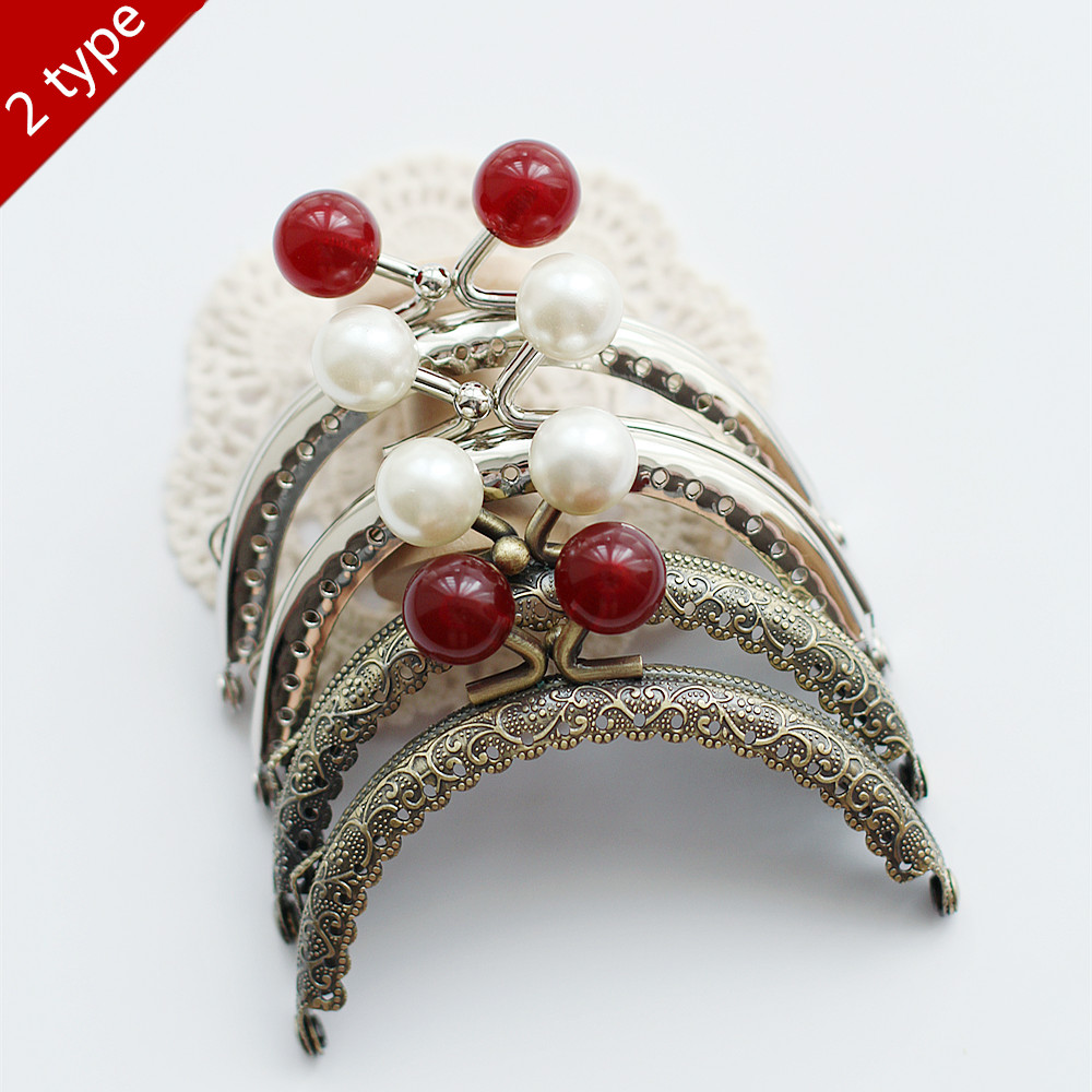 Cherry pearl embossed 8.5cm Metal Purse Frame ,Purse Frames for DIY coin purse,Bag Accessories