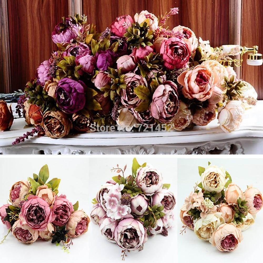 1 Bouquet 10 Heads Vintage Artificial Peony Silk Flower Wedding