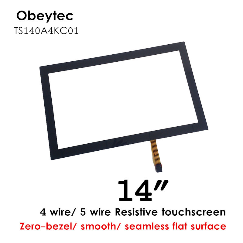 """obeycrop 14"""" Resistive touch screen panel,black overlay, flat surface, 4 wire touch Sensor glass, with controller, TS140A4KC01"""