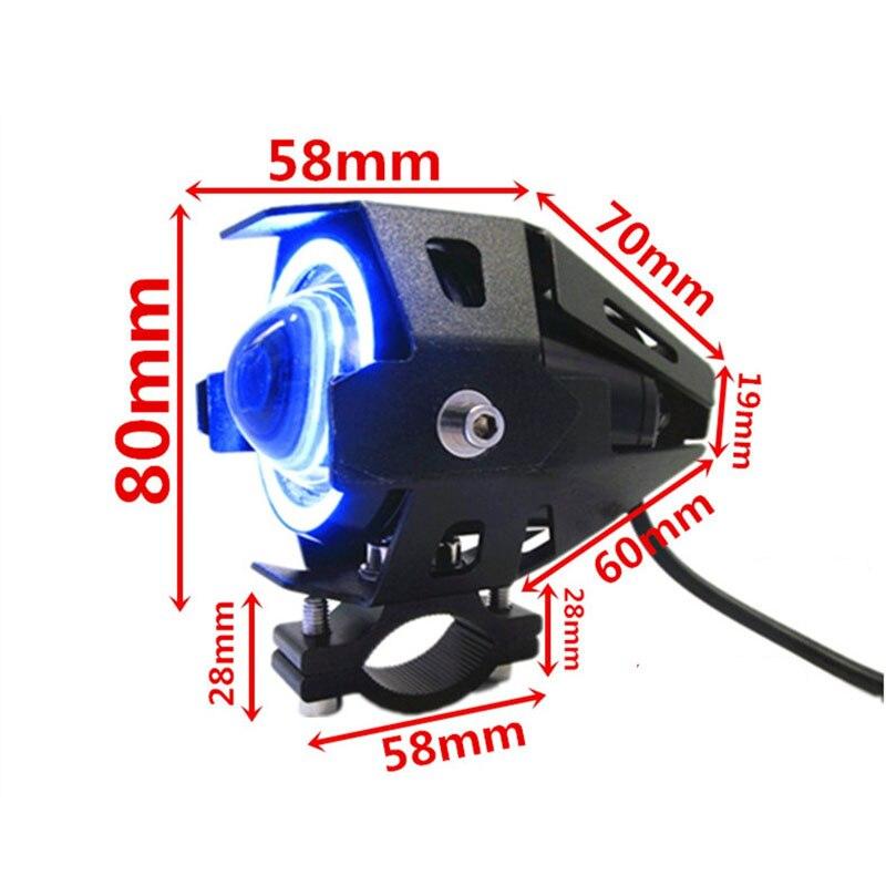 1 STÜCKE 125 Watt motorrad scheinwerfer led U7 12 V motorrad scheinwerfer moto arbeit fahren auto nebel scheinwerfer super helle angel eye lampe