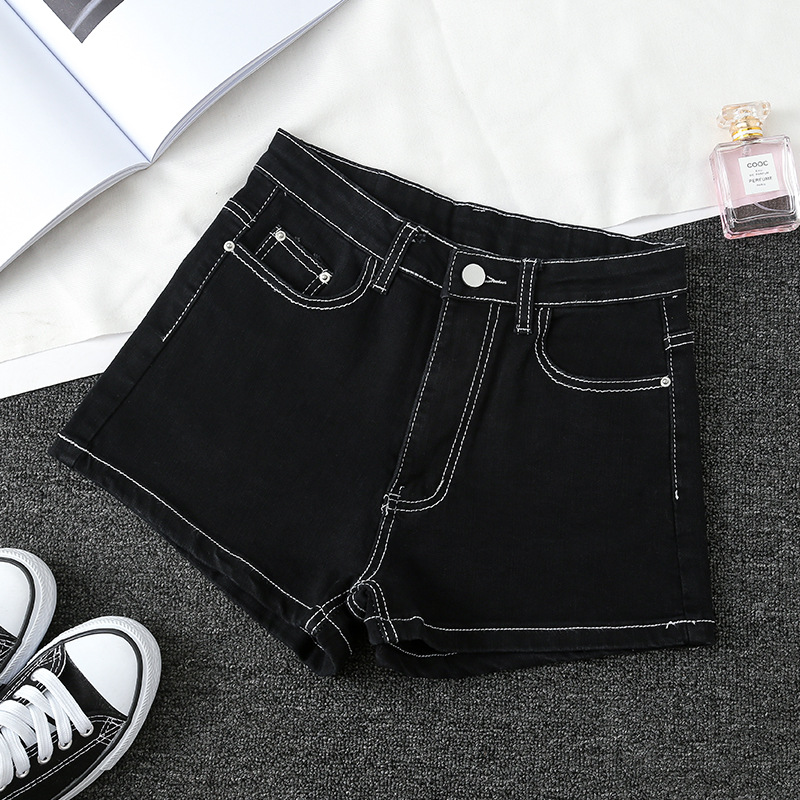 Women's Tight Package Hip Denim Shorts Slim A-Line High Waist Jeans Female Simple Wild Fashion Sexy Mini Shorts New Cowboy D344 image