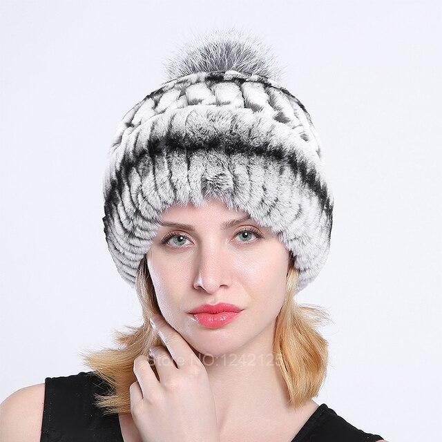 New Russia real fur hat warm women lady girl real rex rabbit fur hat warm  knitting hat elastic knitted hats cap Skullies Beanies 43c31f8f7b0