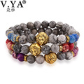 V.YA Amazing Lion Charm Beads Bracelets for Watch Accessories Men's Women Statement Jewelry Natural Stone Bangle Bracelet