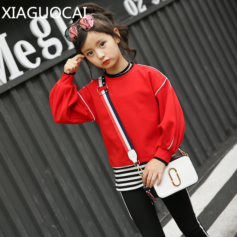 XiaGuoCai spring&autumn girls baby long sleeve T-shirt+long pants 2pcs 100% cotton Striped stitching children clothes k156 35 free shipping children clothing spring girl three dimensional embroidery 100% cotton suit long sleeve t shirt pants