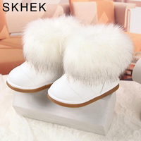 SKHEK Winter Fashion Child Girls Snow Boots Shoes Warm Plush Soft Bottom Baby Girls Boots Leather