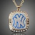 Nova chegada 1999 New York Baseball equipe campeã colares banhado a ouro de cristal cadeia pingente de colar para o presente D00513