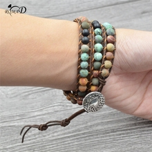 Bohemian Bracelet Natural Stone bead Multi-layer Leather Rope Wrap Bracelet Women Beaded Couples Bracelet A40