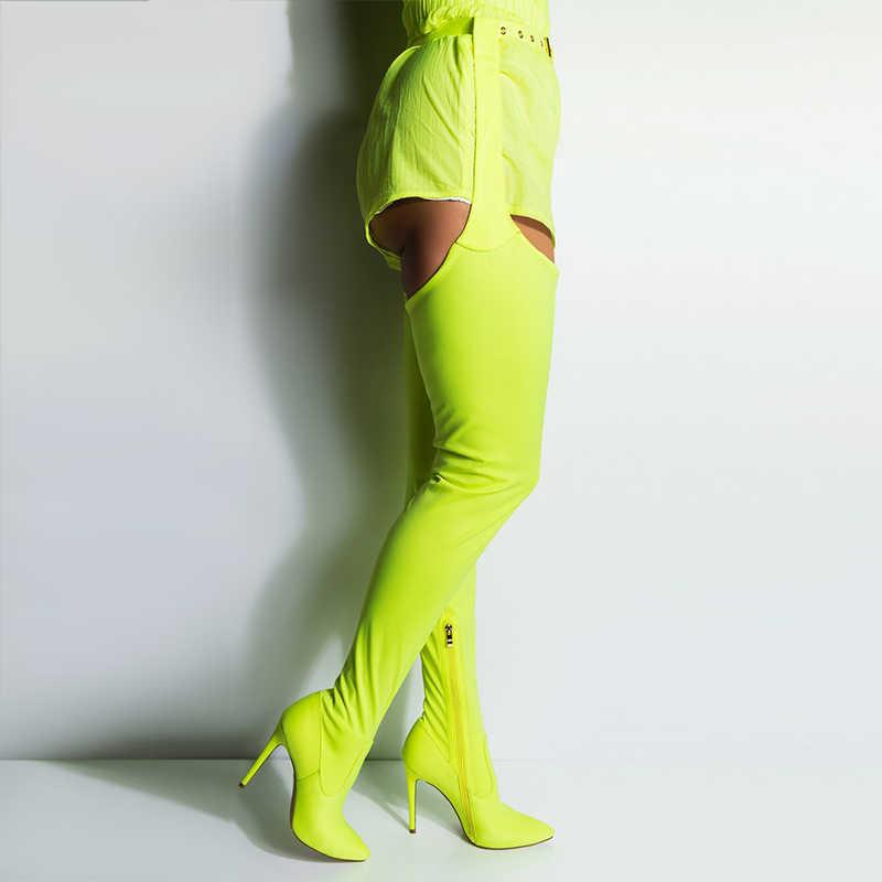 2019 г. Весенне-осенние новые туфли Rihanna/женские ботфорты выше колена на шелковом каблуке пикантные очень длинные сапоги до промежности с широким верхом