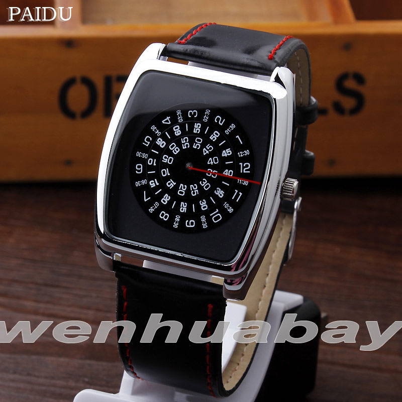 Paidu Black Quartz Black Leather Band Wrist Watch Mens Boy Rectangle Turntable Dial Digital Gift Wristwatches цены
