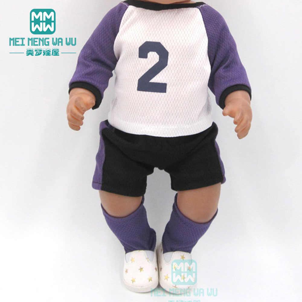 Куклы одежда для 17 дюймов 43 см игрушка новорожденный кукольная одежда синий футбол комплект детской одежды
