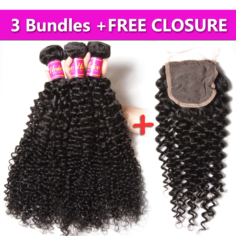 UNice Hair 7A Brazilian Curly Remy Hair 3PCS Send One Free Closure Hot Brazilian Curly Hair Bundles 8-26