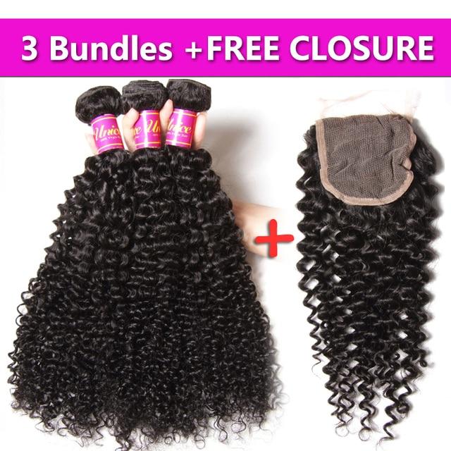 "UNice Hair 7A Brazilian Curly Remy Hair 3PCS Send One Free Closure Hot Brazilian Curly Hair Bundles 8-26"" 100% Human Hair Weave"