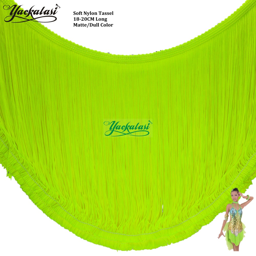 YACKALASI Latin Fringe Tassel Dance Dress Macrame Matte Color Soft Trimming Lace Sewing Trim Nylon Samba Dress 18 20CM-in Lace from Home & Garden    1