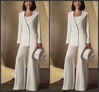 0d322747bedea 2018 New Satin Long Sleeves Mother Of The Bride Dresses Pant Suits With  Jacket 3 Pieces