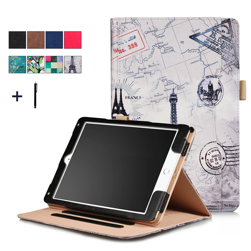 Case For iPad 9.7 2017 Luxury Hand Holder Universal Tablet Case For iPad Air 2 1 Frame Flip Leather Stand Cover Card Slot+Stylus