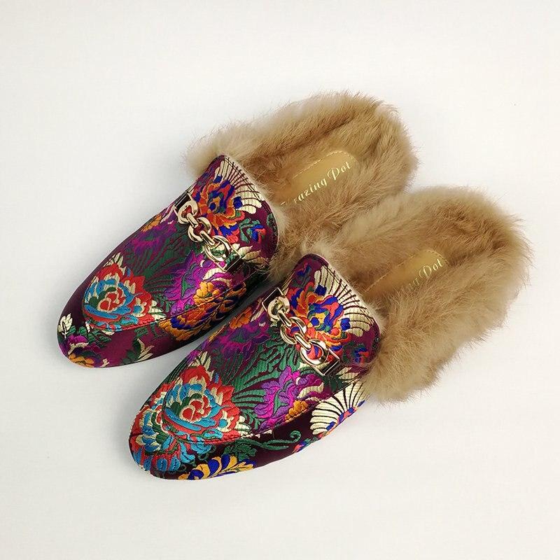 2019 superstar slingback lapin fourrure piste classique extérieur pantoufle métal plat avec mode hiver pantoufles chaud à la main chaussures-in Pantoufles from Chaussures    2