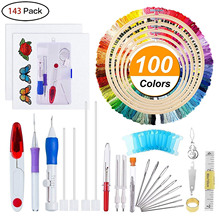 Embroidery Starter Kit Full Set-Magic Pen Punch Needle,Hoops,Threads,Stitching Set Craft Tool for Beginner