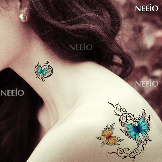 Temporary Tattoo Butterfly Love Colorful Vine Tattoo