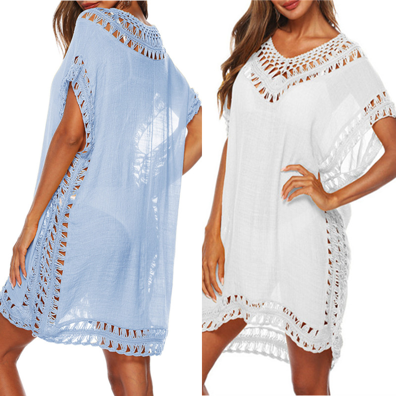 Bkning Blue Kaftan Beach Dress Women Cover-Ups 2019 Summer Black Swimsuit Cover Up V-neck Party Dresses Pareo Beach Wear 9 Color