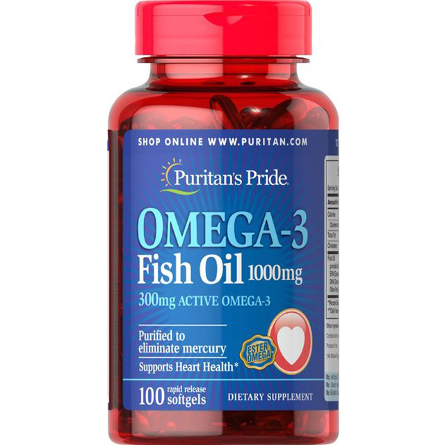 Omega-3 de Aceite de Pescado 1000 mg (300 mg Activo Omega-3)-100 Cápsulas envío libre