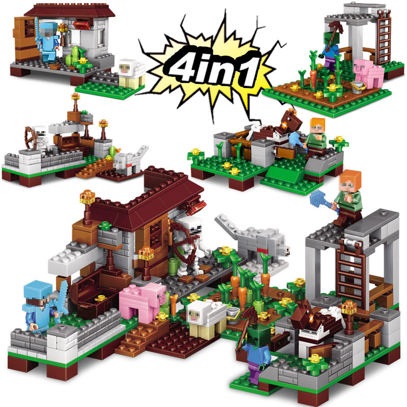 Minecrafted The Village Farm Cottage Zombie Cave 390 Pcs 4 in 1 Building Blocks Toys For Children Compatible Minecraft Legoing