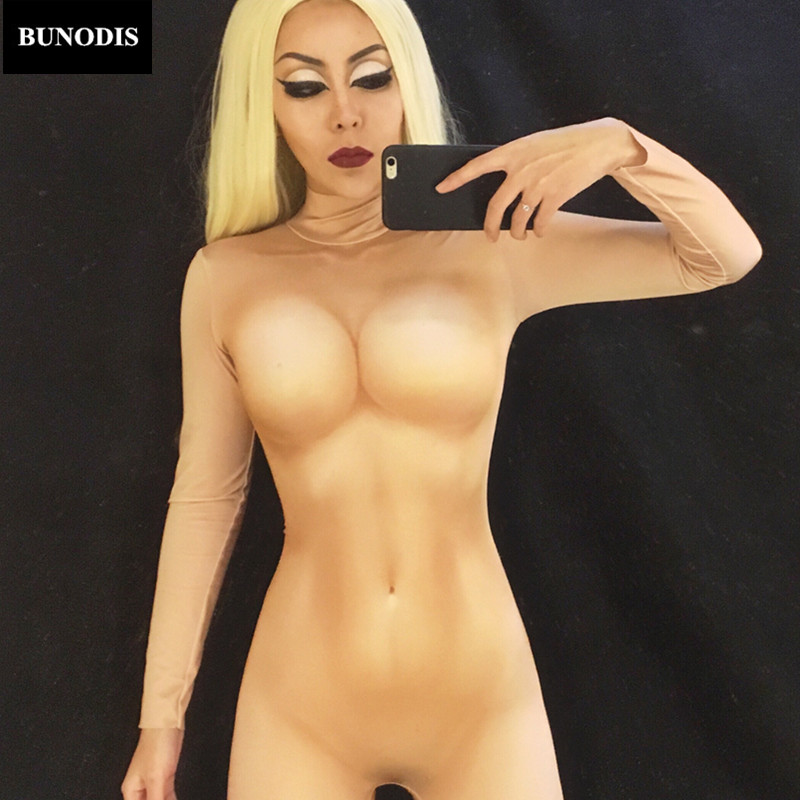 BU098 Women Naked Jumpsuit 3D Printing Bodysuit Nighclub Party Stage Wear Sexy Costume Singer Dancer Stage Performance Clothed