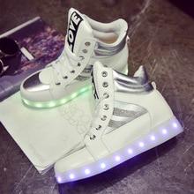 รองเท้าLedแสงผู้หญิงสูงด้านบนส่องสว่างนำรองเท้าผู้หญิงหนังPuเรืองC Haussure Led F Emmeลูกไม้ขึ้นUsbชาร์จZapatillas