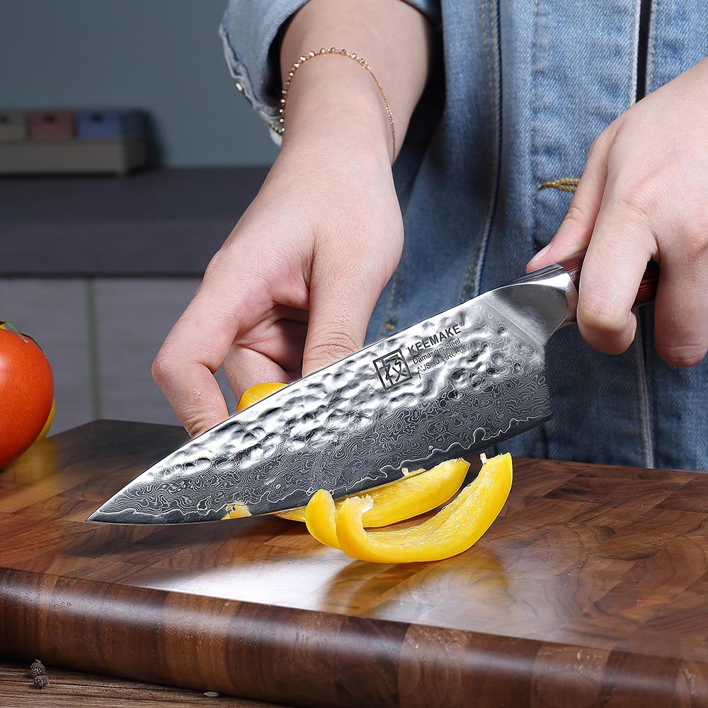 Keemake 고품질 6.5 ''요리사 나이프 해머 다마스커스 AUS 10 스틸 블레이드 주방 나이프 g10 손잡이 날카로운 고기 슬라이스 요리사 나이프-에서주방 칼부터 홈 & 가든 의  그룹 3