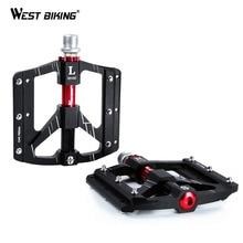 WEST BIKING 3 베어링 자전거 페달 초경량 Anti slip CNC 도로 MTB 자전거 페달 사이클링 밀폐형 베어링 자전거 페달