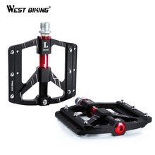 WEST BIKING 3 Bearings Bicycle Pedals Ultralight Anti-slip CNC Road MTB Bike Pedal Cycling Sealed Bearing Bike Pedals 2018 bicycle pedal anti slip ultralight cnc mtb mountain bike pedal sealed bearing pedals bicycle accessories